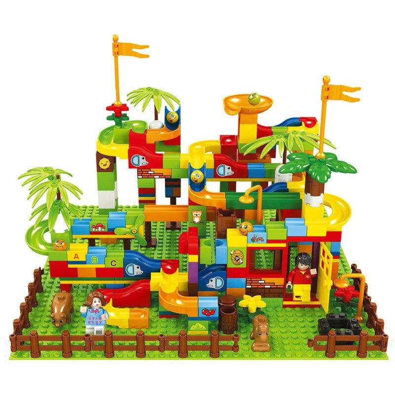 Marble Race Run Ball Maze Labyrinth Track Building Block Children Toy DIY Funnel Slide Forest Slide Castle Bricks Toy Kids Gift